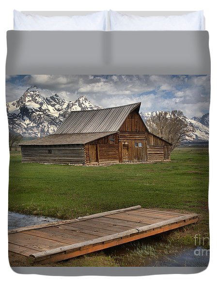 Mormon Row Water Crossing Duvet Cover by Adam Jewell