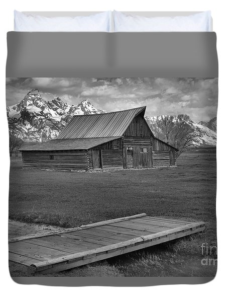 Mormon Row Water Crossing Black And White Duvet Cover by Adam Jewell