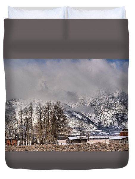 Duvet Cover featuring the photograph Mormon Row Winter Morning Panorama by Adam Jewell