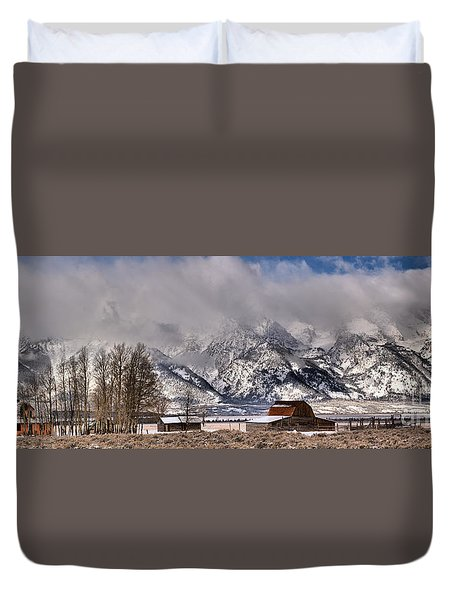 Duvet Cover featuring the photograph Mormon Row Winter Panorama by Adam Jewell