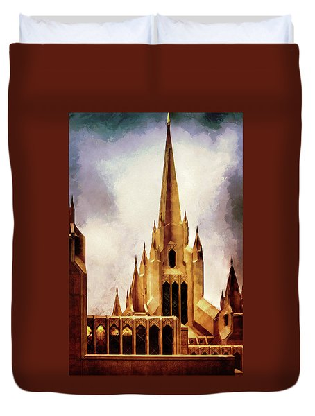 Mormon Temple Steeple Duvet Cover by Joseph Hollingsworth