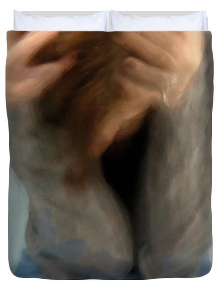 Duvet Cover featuring the digital art Morning Anxiety by Gun Legler