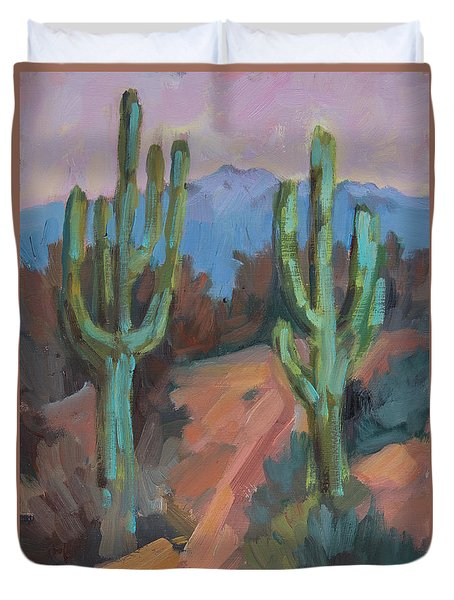Duvet Cover featuring the painting Morning At Fort Apache by Diane McClary