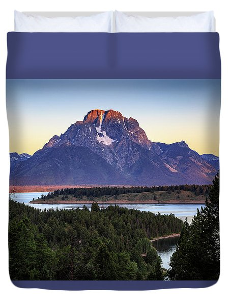 Duvet Cover featuring the photograph Morning At Mt. Moran by David Chandler