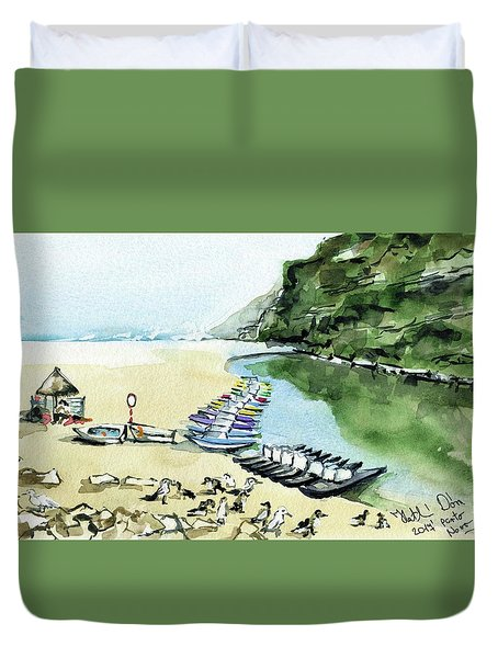 Duvet Cover featuring the painting Morning At Porto Novo Beach by Dora Hathazi Mendes