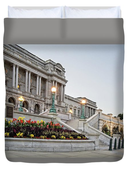 Duvet Cover featuring the photograph Morning At The Library Of Congress by Greg Mimbs