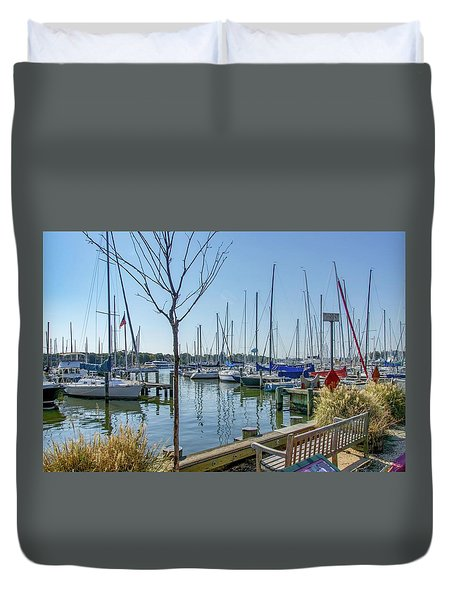 Duvet Cover featuring the photograph Morning At The Marina by Charles Kraus