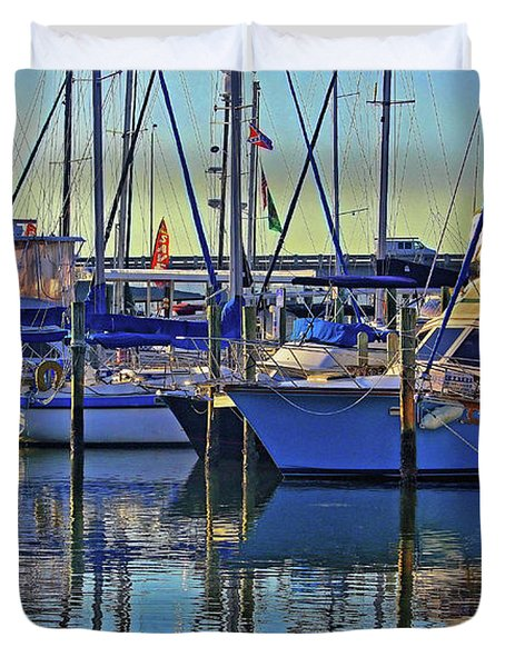 Morning At The Marina Duvet Cover