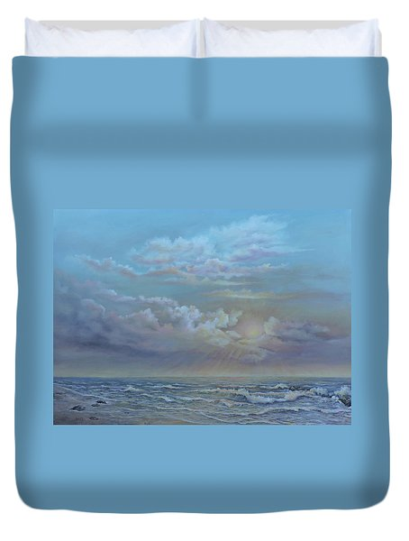Duvet Cover featuring the painting Morning At The Ocean by Katalin Luczay