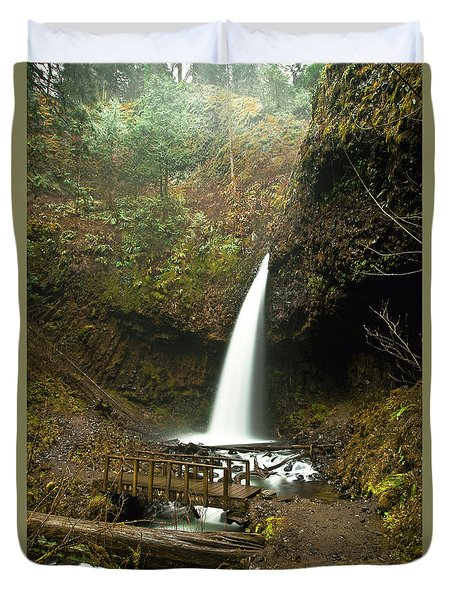 Morning At The Waterfall Duvet Cover