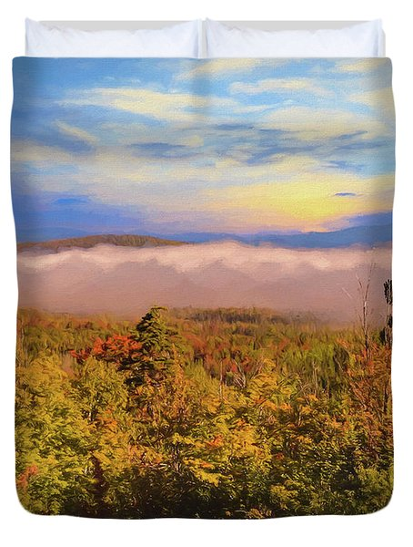 Morning Autumn Landscape Northern New Hampshire Duvet Cover