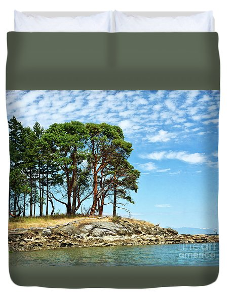 Morning Beach Arbutus Trees Duvet Cover