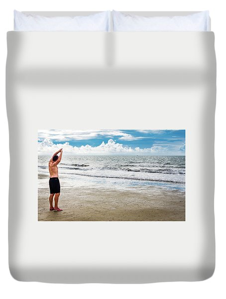 Morning Beach Workout Duvet Cover