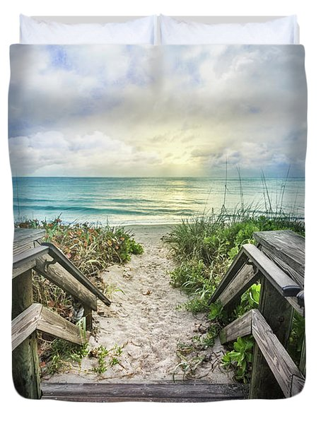 Duvet Cover featuring the photograph Morning Blues At The Dune by Debra and Dave Vanderlaan