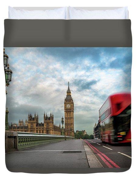 Morning Bus In London Duvet Cover
