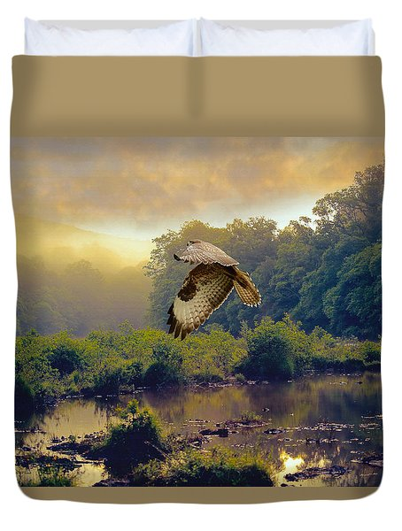 Morning Buzzard Duvet Cover by Roy  McPeak