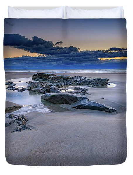 Duvet Cover featuring the photograph Morning Calm On Wells Beach by Rick Berk