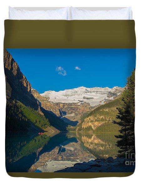 Morning Canoe Ride On Lake Louise Duvet Cover