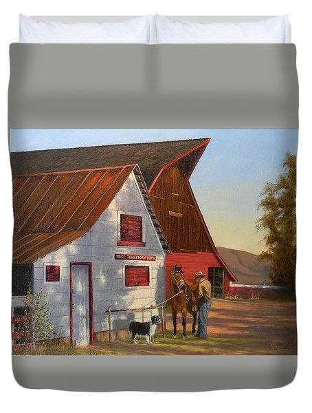 Morning Chores Duvet Cover