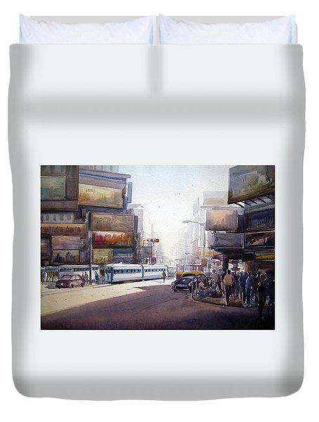Duvet Cover featuring the painting Morning City Street by Samiran Sarkar