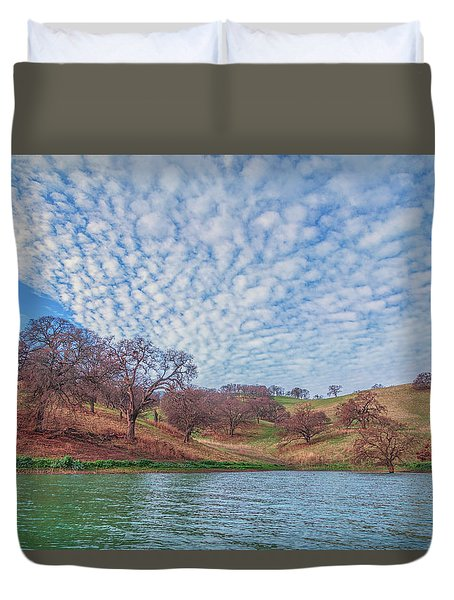 Morning Clouds Over Shoreline Duvet Cover