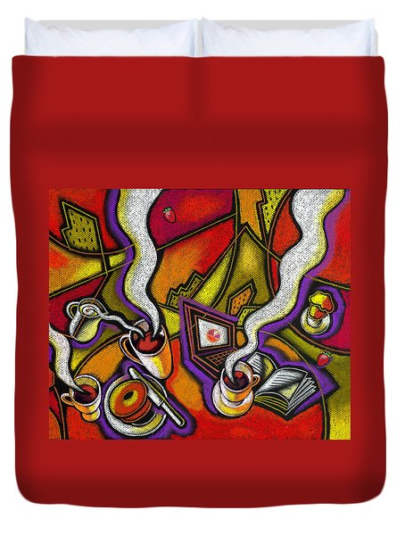 Duvet Cover featuring the painting Morning Coffee And Internet by Leon Zernitsky