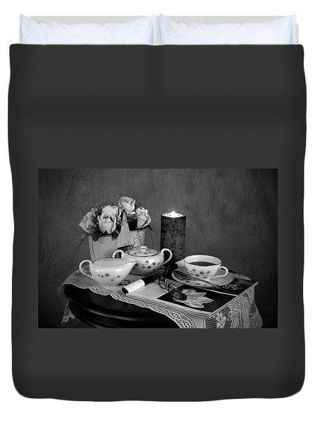 Morning Coffee And Reading Magazine Time Duvet Cover