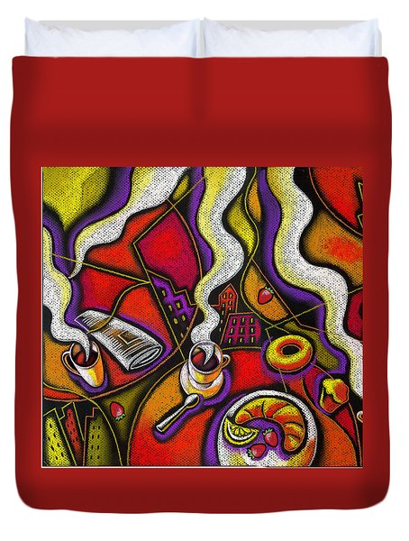 Duvet Cover featuring the painting Morning Coffee Cup And Muffin  by Leon Zernitsky