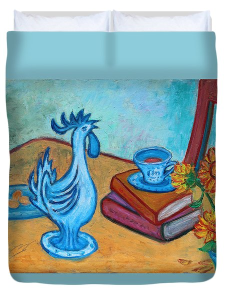 Duvet Cover featuring the painting Morning Coffee Rooster by Xueling Zou