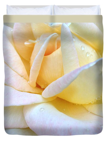 Morning Dew On A Pale Yellow Rose Duvet Cover