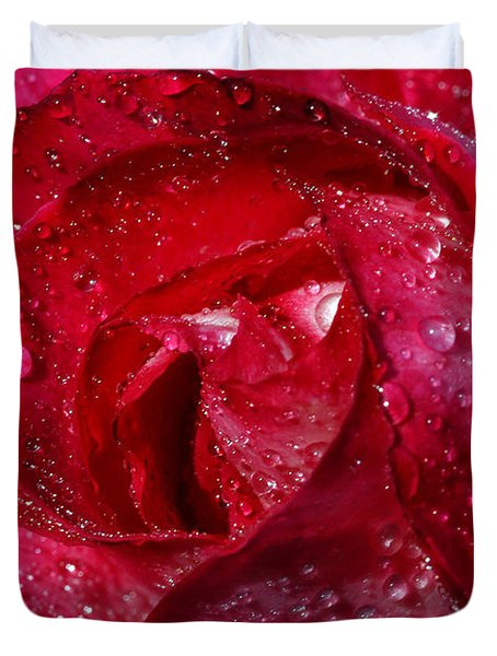 Morning Dew On Rose Duvet Cover