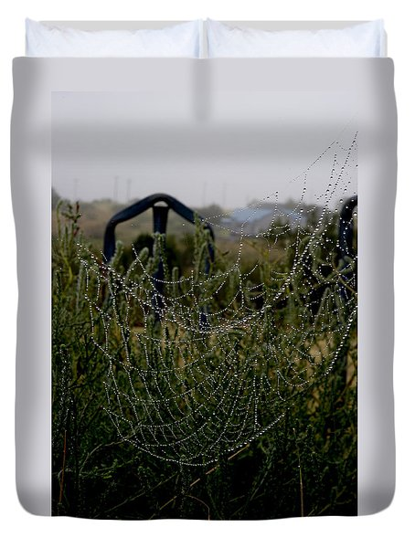Duvet Cover featuring the photograph Morning Dew On Spider Webs by Karen Slagle