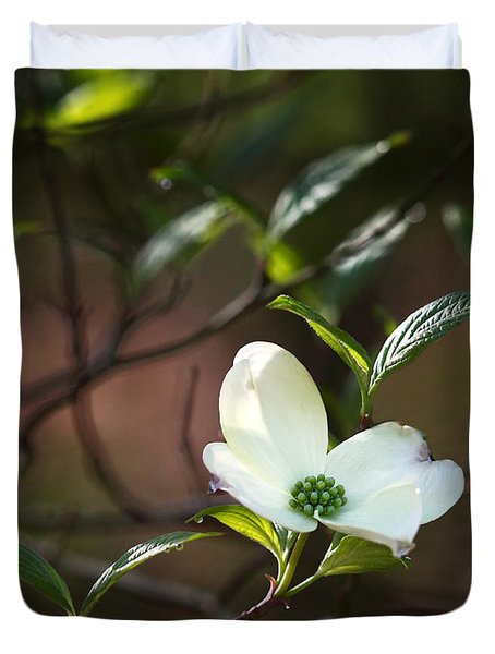 Morning Dogwood At Buffalo River Trail Duvet Cover by Michael Dougherty