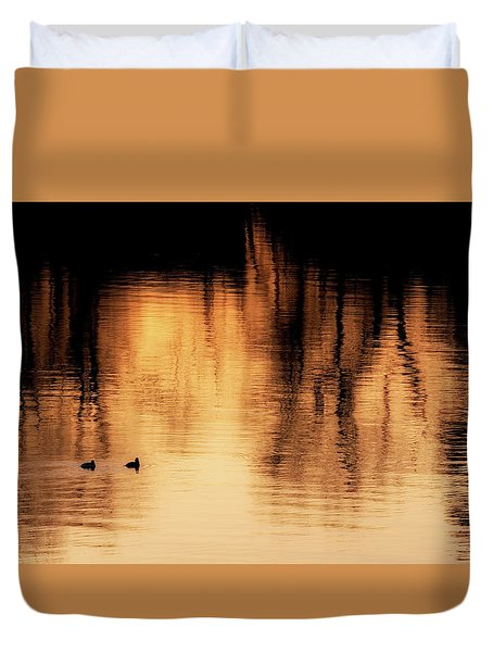 Duvet Cover featuring the photograph Morning Ducks 2017 by Bill Wakeley