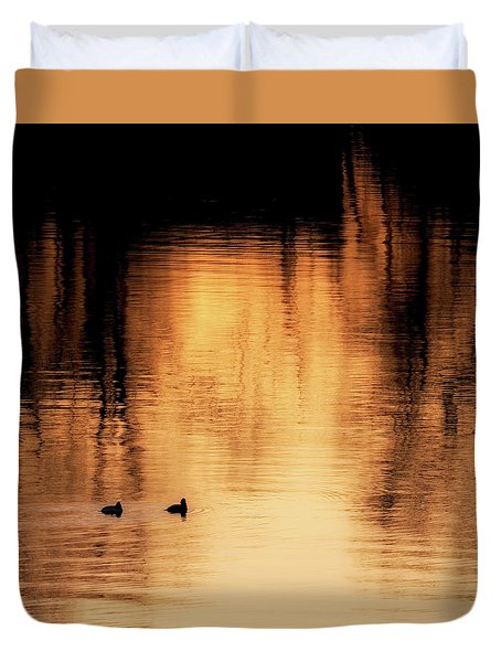 Duvet Cover featuring the photograph Morning Ducks 2017 Square by Bill Wakeley