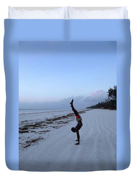 Morning Exercise On The Beach Duvet Cover