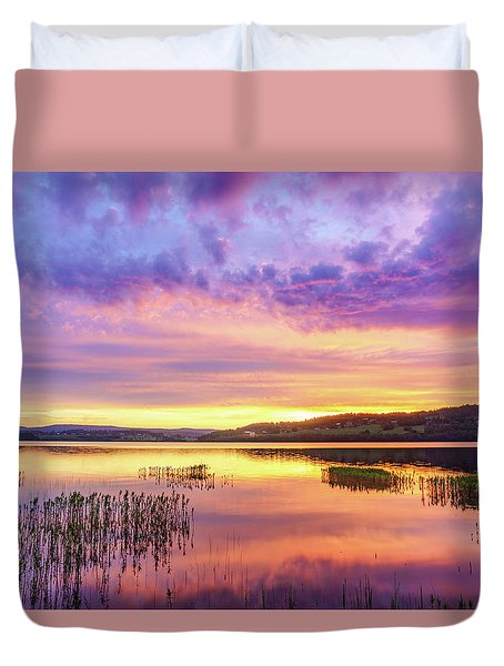 Duvet Cover featuring the photograph Morning Fire by Dmytro Korol