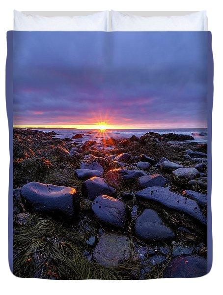 Morning Fire, Sunrise On The New Hampshire Seacoast  Duvet Cover
