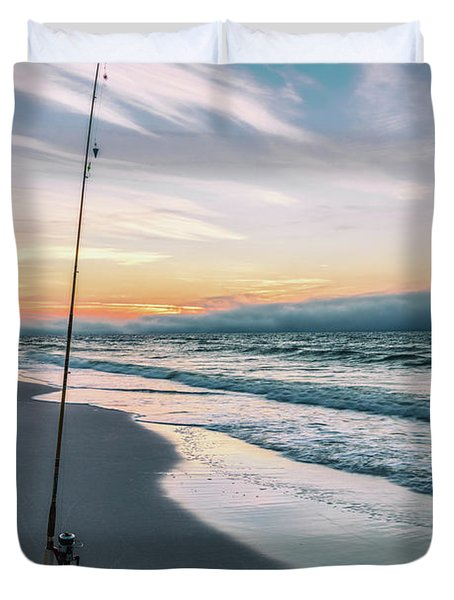 Duvet Cover featuring the photograph Morning Fishing At The Beach  by John McGraw