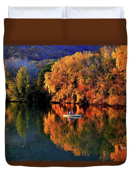 Morning Fishing On Lake Winona Duvet Cover