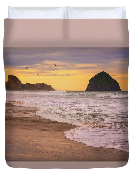 Duvet Cover featuring the photograph Morning Flight Over Cape Kiwanda by Darren White