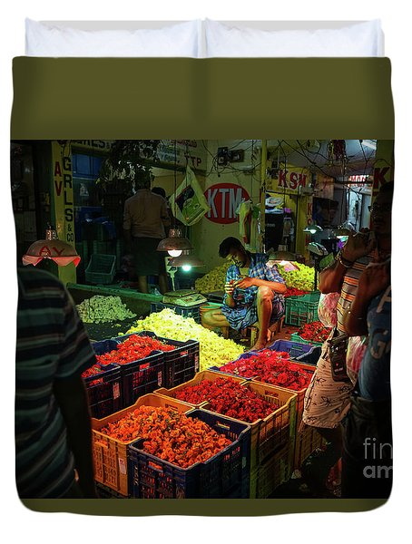 Duvet Cover featuring the photograph Morning Flower Market Colors by Mike Reid