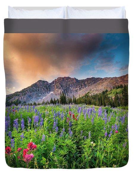 Morning Flowers In Little Cottonwood Canyon, Utah Duvet Cover