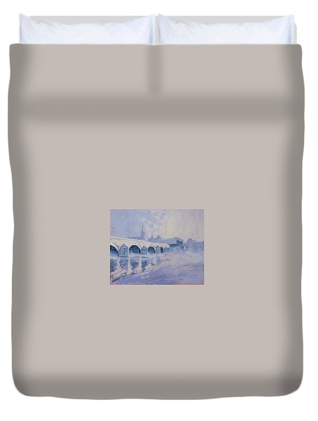 Morning Fog Around The Old Bridge Duvet Cover