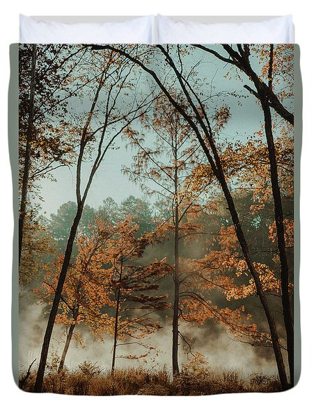 Morning Fog At The River Duvet Cover by Iris Greenwell