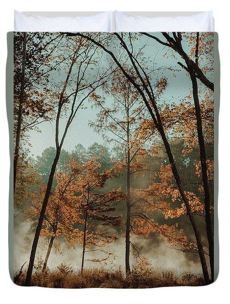 Morning Fog At The River Duvet Cover