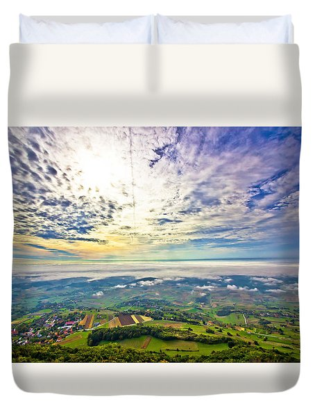 Morning Fog In Green Hills Aerial View Duvet Cover by Brch Photography