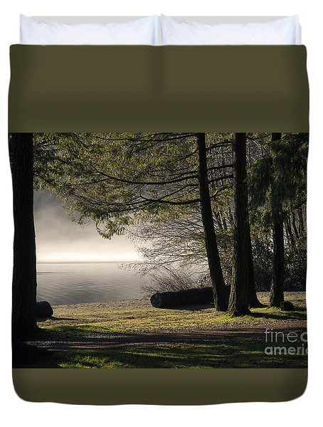 Duvet Cover featuring the photograph Morning Fog by Inge Riis McDonald