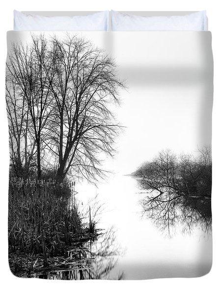 Morning Fog - Inlet, Lake Logan Duvet Cover