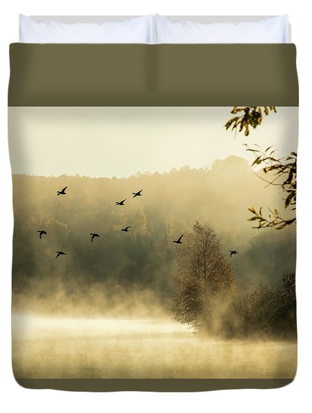 Morning Fog On Haley Pond In Rangeley Maine Duvet Cover